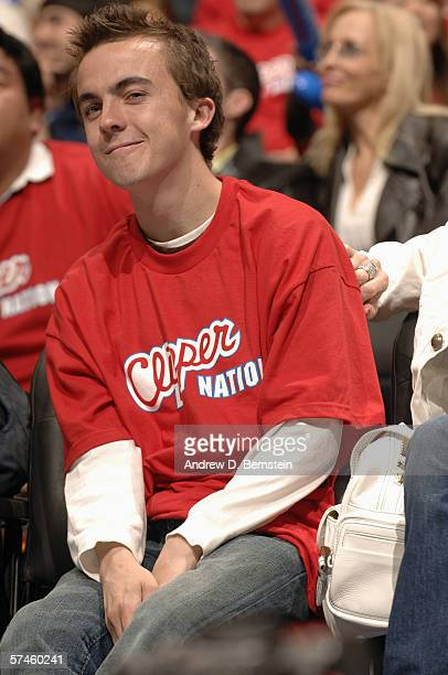 Actor Frankie Muniz watches the Los Angeles Clippers play the Denver Nuggets in game one of the Western Conference Quarterfinals during the 2006 NBA...