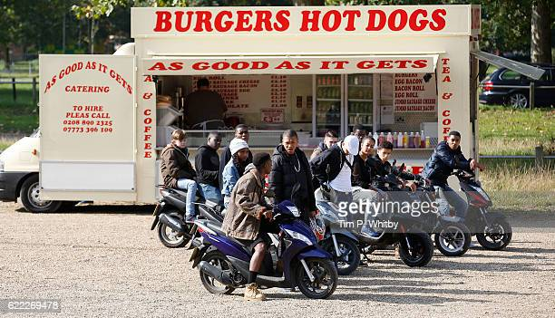 Actor Franz Drameh on the set of 100 Streets in Clapham Common on September 10 2014 in London England
