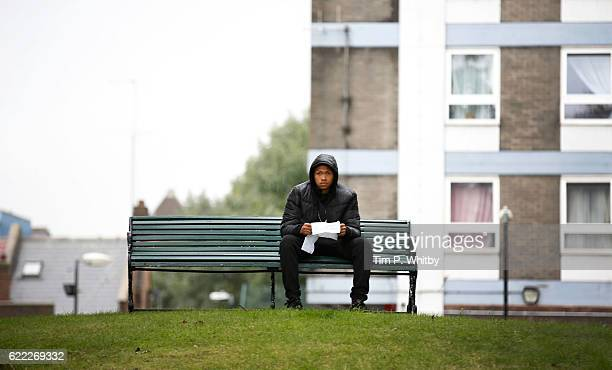 Actor Franz Drameh on the set of 100 Streets in Wandsworth on August 25 2014 in London England