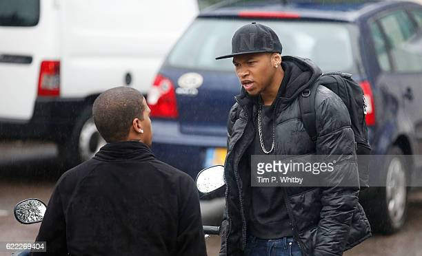 Actor Franz Drameh playing opposite actor Kola Bokinni on the set of 100 Streets in Wandsworth on August 25 2014 in London England