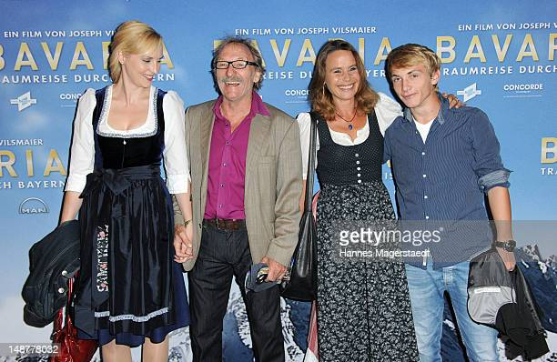 Actor Franz Xaver Kroetz and his girlfriend Janine Grund and exwife MarieTheres Relin and son Ferdinand attend the 'Bavaria' Germany Premiere at the...