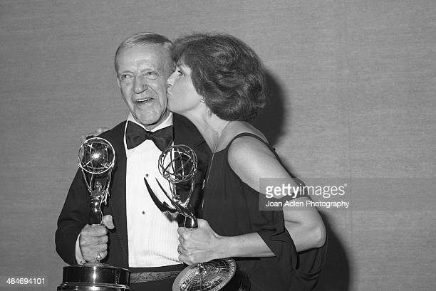 Actor Fred Astaire and actress Joanne Woodward after winning Best Actor and Actress in a Comedy or Drama Special at the 30th Annual Emmy Awards on...