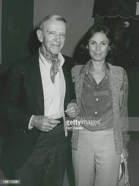 Actor Fred Astaire and wife Robyn Smith being photographed on March 22 1981 at the Palm Restaurant in Los Angeles California