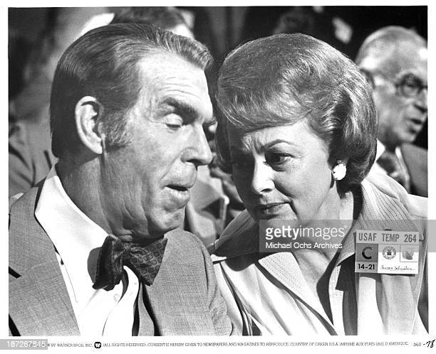 Actor Fred MacMurray and actress Olivia de Havilland on set of the Warner Bros movie 'The Swarm' in 1978