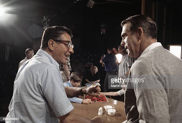 Actor Fred MacMurray and director Fred de Cordova on the set of 'My Three Sons' in 1968 in Los Angeles California