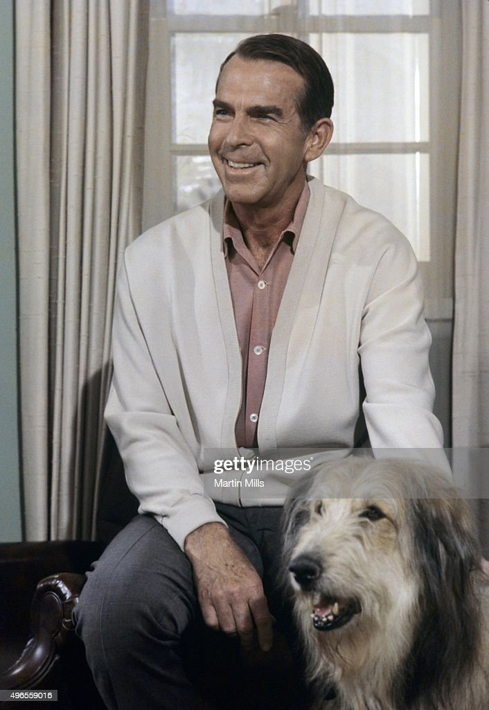 Actor Fred MacMurray and Tramp on the set of 'My Three Sons' in 1968
