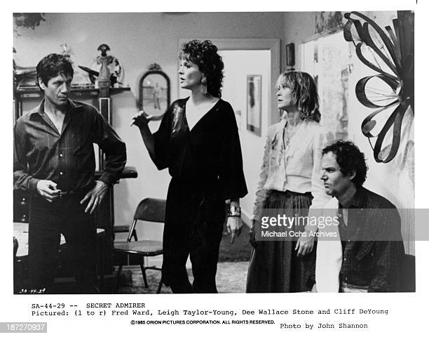 Actor Fred Ward actress Leigh TaylorYoung actress Dee Wallace and actor Cliff De Young on set of the Orion Picture movie 'Secret Admirer' in 1985