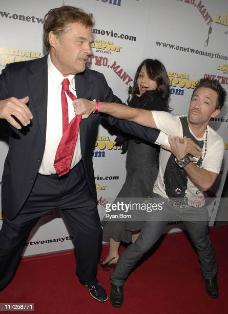 Actor Fred Willard Actor David Faustino and An Unidentified Guest horse around on the red carpet at National Lampoon's Premier of One Two Many on...