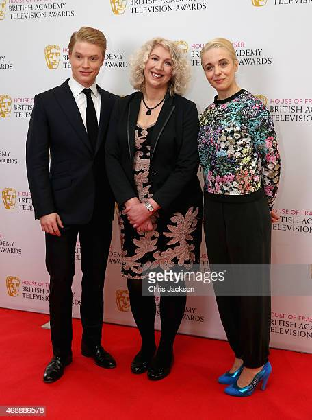Actor Freddie Fox Chairman of the Academy Anne Morrison and actress Amanda Abbington attend a photocall as the nominations are announced for the...