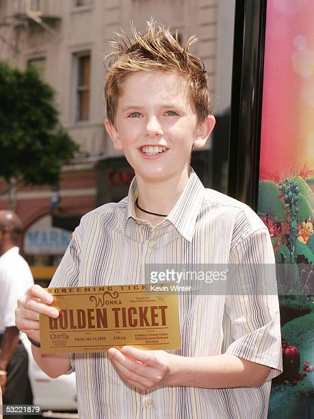 Actor Freddie Highmore arrives at the premiere of Warner Bros Picture's 'Charlie and the Chocolate Factory' at the Chinese Theater on July 10 2005 in...