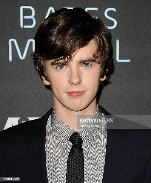 Actor Freddie Highmore attends the premiere of 'Bates Motel' at Soho House on March 12 2013 in West Hollywood California