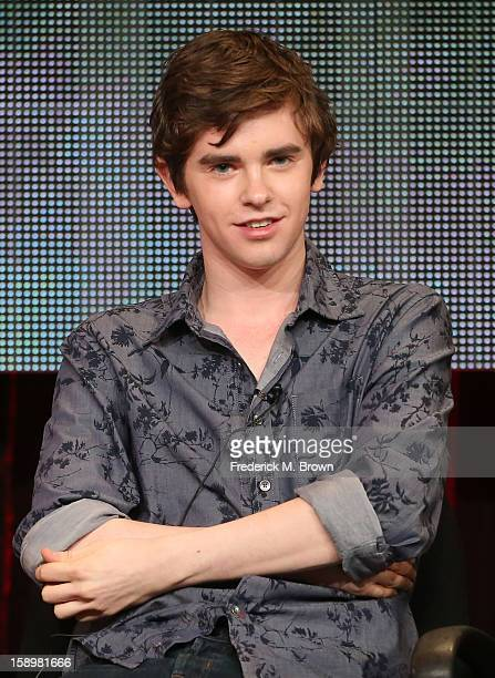 """Actor Freddie Highmore speaks onstage during the """"Bates Motel"""" panel discussion at the A&E Network portion of the 2013 Winter TCA Tourduring 2013..."""