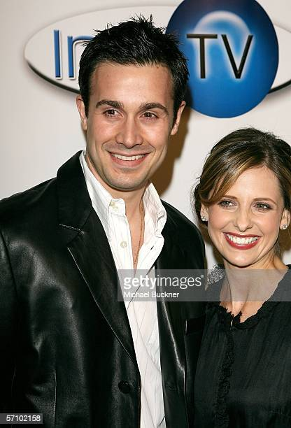 Actor Freddie Prinze Jr and actress Sarah Michelle Gellar arrive at the Aol and Warner Bros Launch of In2TV at the Museum of TV Radio on March 15...