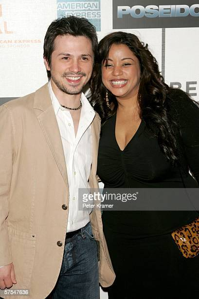 """Actor Freddie Rodriguez and wife Elsie Rodriguez attend the """"Poseidon"""" premiere at the Tribeca Performing Arts Center May 6, 2006 in New York City."""