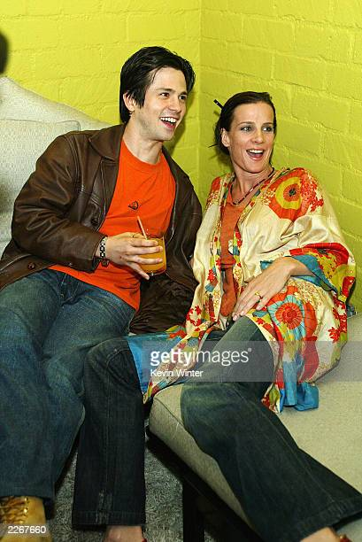 Actor Freddy Rodriguez and actress Rachel Griffiths hang out at Details Magazine's party to celebrate their Next Big Thing issue at the Avalon Hotel...
