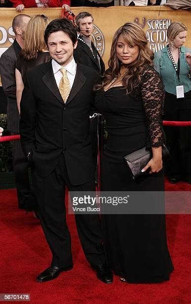 Actor Freddy Rodriguez and wife Elsie arrive at the 12th Annual Screen Actors Guild Awards held at the Shrine Auditorium on January 29 2006 in Los...