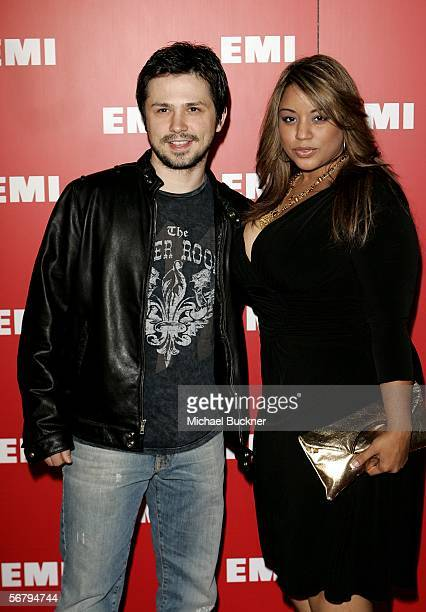 Actor Freddy Rodriguez and wife Elsie Rodriguez arrive at EMI's PostGrammy Bash held at Paramount Studios on February 8 2006 in Hollywood California
