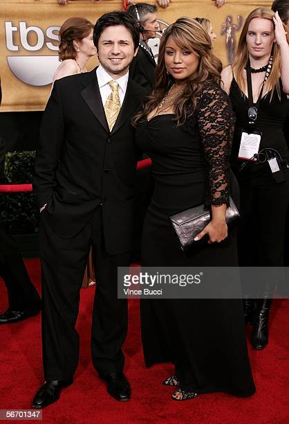 Actor Freddy Rodriguez with his wife Elsie Rodriguez arrive at the 12th Annual Screen Actors Guild Awards held at the Shrine Auditorium on January 29...