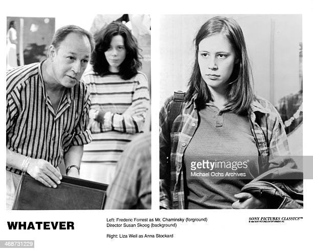 Actor Frederic Forrest and director Susan Skoog on set actress Liza Weil on set of the movie 'Whatever' circa 1998