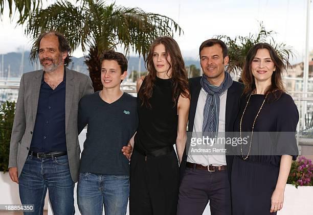 Actor Frederic Pierrot actor Fantin Ravat actress Marine Vacth Director Francois Ozonn and actress Geraldine Pailhasattend the 'Jeune Jolie'...