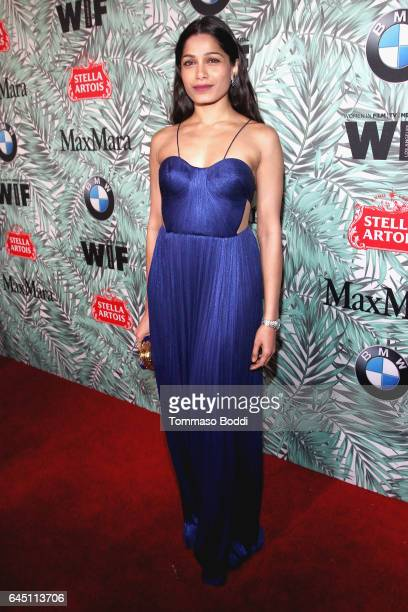 Actor Freida Pinto attends the tenth annual Women in Film PreOscar Cocktail Party presented by Max Mara and BMW at Nightingale Plaza on February 24...
