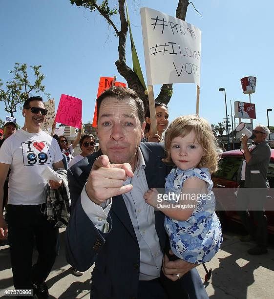 Actor French Stewart and daughter Helene Claire Stewart attend AEA actors picketing their own union over the proposal to end the 99seat theater plan...