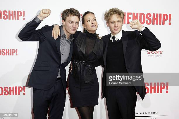 Actor Friedrich Muecke and actress Alicja Bachleda and actor Matthias Schweighoefer attend the premiere of 'Friendship' at CineMaxx at Potsdam Place...