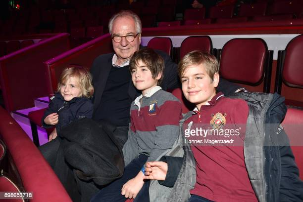 Actor Friedrich von Thun and his grandchildren during Circus Krone celebrates premiere of 'In Memoriam' at Circus Krone on December 25 2017 in Munich...