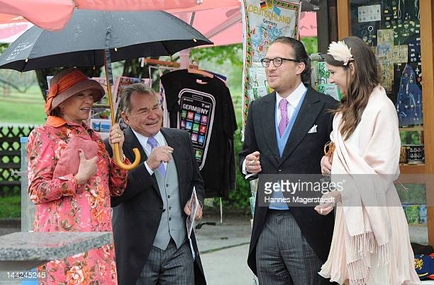 Actor Fritz Wepper and his wife Angela and Sophie Wepper with a friend attend the wedding of Princess Felipa von Bayern and Christian Dienst at...