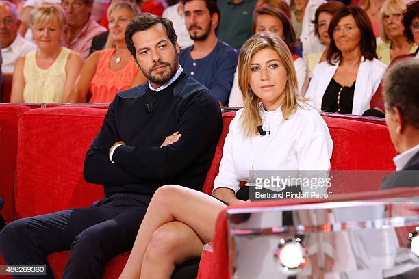 Actor from 'Comedie francaise' Laurent Lafitte and Writer Amanda Sthers attend the 'Vivement Dimanche' French TV Show Held at Pavillon Gabriel on...