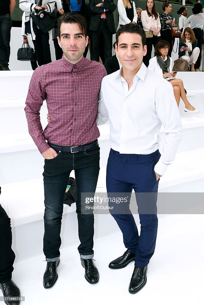 Actor from 'Star Trek Into Darkness' Zachary Quinto and Actor Miguel Angel Silvestre attend Dior Homme Menswear Spring/Summer 2014 Show as part of the Paris Fashion Week on June 29, 2013 in Paris, France.