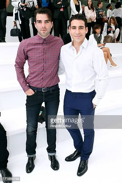 """Actor from """"Star Trek Into Darkness"""" Zachary Quinto and Actor Miguel Angel Silvestre attend Dior Homme Menswear Spring/Summer 2014 Show as part of..."""