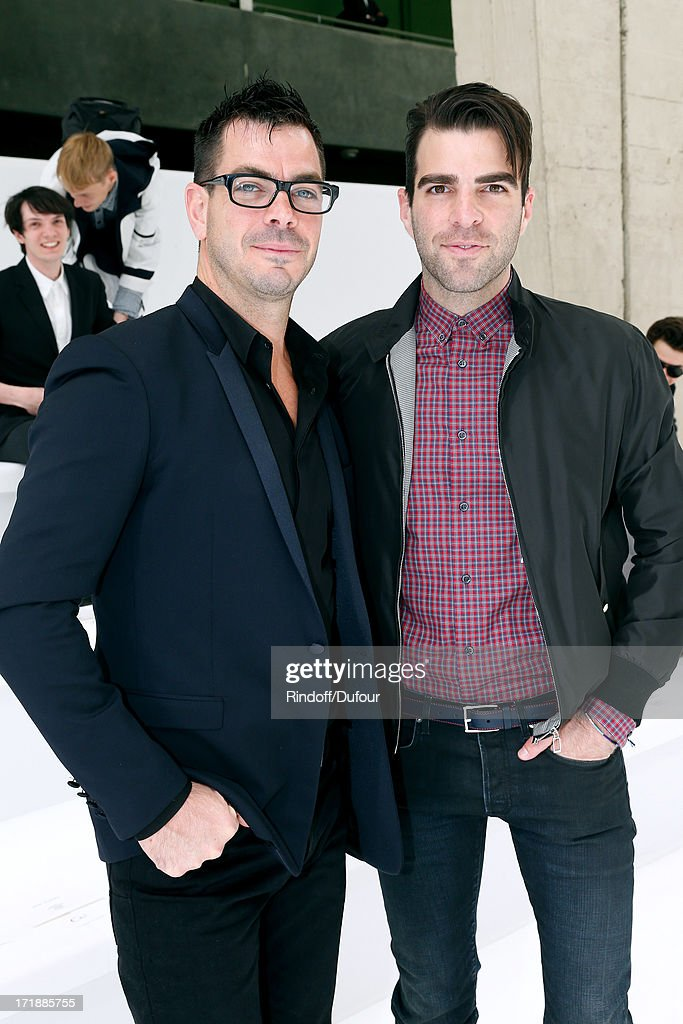 Actor from 'Star Trek Into Darkness' Zachary Quinto (R) and his brother stunt Joe Quinto attends Dior Homme Menswear Spring/Summer 2014 Show as part of the Paris Fashion Week on June 29, 2013 in Paris, France.
