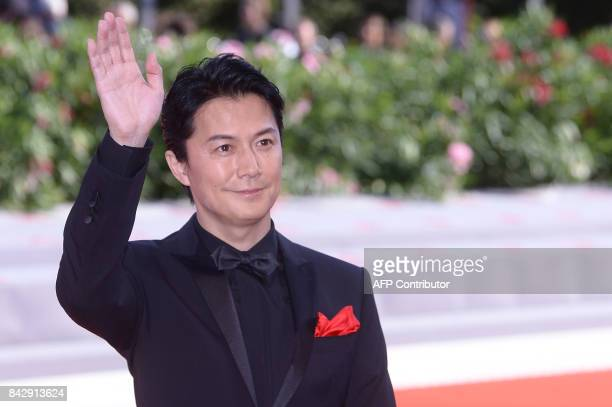 Actor Fukuyama Masaharu attends the Premiere of the movie 'Sandome No Satsujin' presented in competition at the 74th Venice Film Festival on...