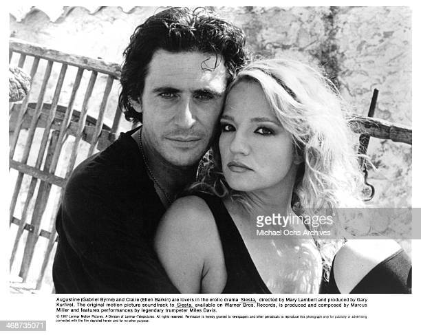 Actor Gabriel Byrne and actress Ellen Barkin on set of the movie Siesta circa 1987