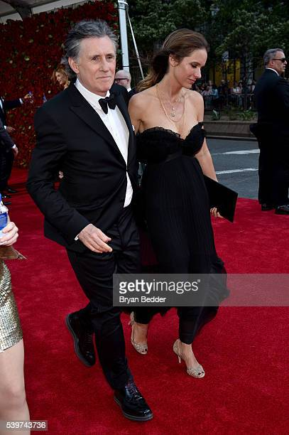 Actor Gabriel Byrne and producer Hannah Beth King arrive at FIJI Water at 2016 Tony Awards at The Beacon Theatre on June 12, 2016 in New York City.