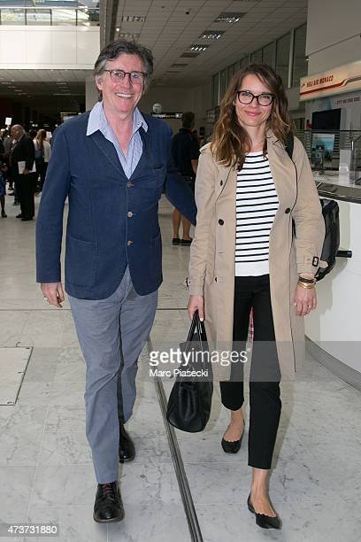 Actor Gabriel Byrne and wife Hannah Beth King are seen at Nice airport during the 68th annual Cannes Film Festival on May 17, 2015 in Cannes, France.