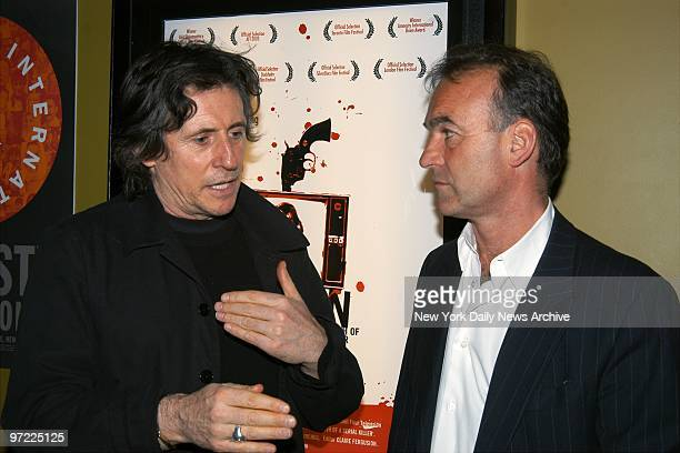 Actor Gabriel Byrne talks with director Nick Broomfield before a special screening of Broomfield's documentary film about Aileen Wuornos 'Aileen Life...