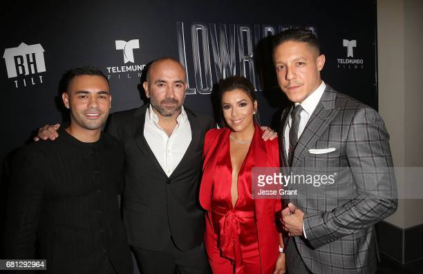 Actor Gabriel Chavarria director Ricardo de Montreuil actress Eva Longoria and actor Theo Rossi attend the premiere of BH Tilt's 'Lowriders' at LA...
