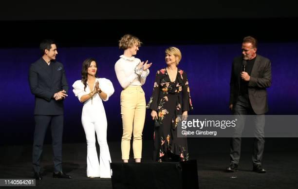 Actor Gabriel Luna actresses Natalia Reyes Mackenzie Davis Linda Hamilton and actor Arnold Schwarzenegger speak during Paramount Pictures exclusive...