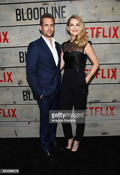 Actor Gabriel Macht and actress Jacinda Barett arrive at the premiere of Netflix's Bloodline at The Landmark Regent Theater on May 24 2016 in...