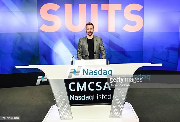 Actor Gabriel Macht rings the Nasdaq Opening Bell at NASDAQ MarketSite on January 28, 2016 in New York City.