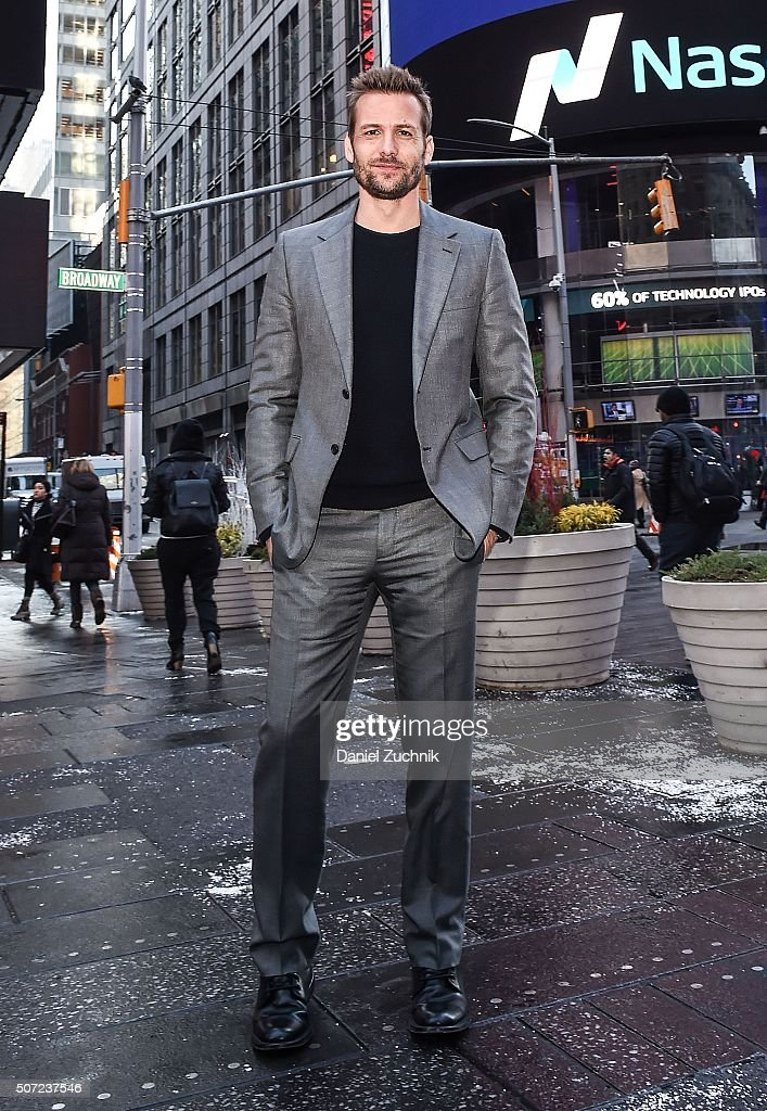 Actor Gabriel Macht rings the Nasdaq Opening Bell at NASDAQ MarketSite on January 28, 2016 in New York City.