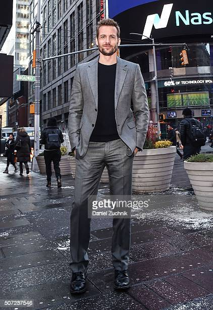 Actor Gabriel Macht rings the Nasdaq Opening Bell at NASDAQ MarketSite on January 28 2016 in New York City