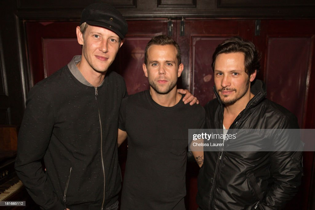Actor Gabriel Mann, singer Anthony Gonzalez of M83 and actor Nick Wechsler attend the M83 Post-Show Soiree At No Vacancy on September 22, 2013 in Hollywood, California.