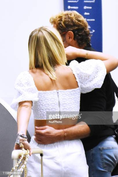 Actor Gabriel Soto and his girlfriend actress Irina Baeva during the documenting luggage before boarding the plane to Cancun at Mexico City...