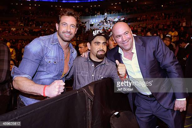 Actor Gabriel Soto and UFC President Dana White interact during the UFC 180 event at Arena Ciudad de Mexico on November 15 2014 in Mexico City Mexico