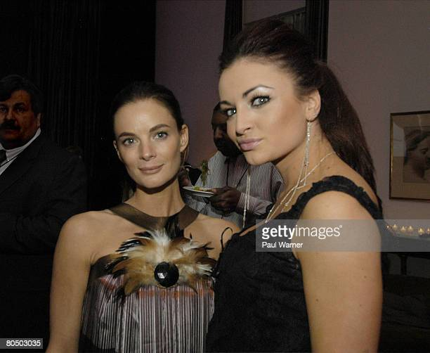 Actor Gabrielle Anwar from the show Burn Notice and WWE Diva and Playboy covergirl Maria pose at The Arts Club of Chicago during The USA Network's...