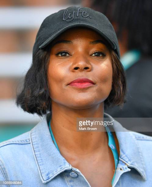 Actor Gabrielle Union attends the game between the Miami Dolphins and the Chicago Bears at Hard Rock Stadium on October 14 2018 in Miami Florida