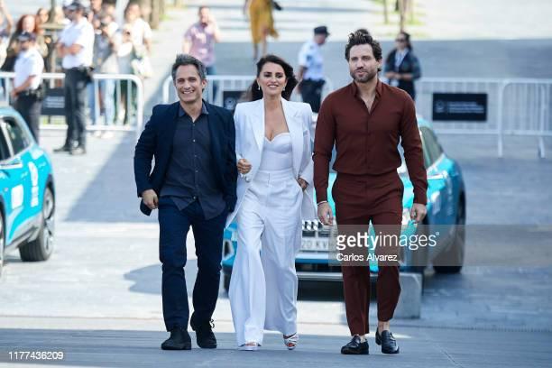 Actor Gael Garcia Bernal, actress Penelope Cruz and actor Edgar Ramirez attend 'Wasp Network ' photocall during 67th San Sebastian International Film...